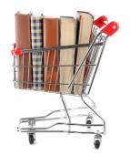 Kundvagn med böcker isolerad på vit — Stockfoto