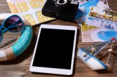 Preparing for travel,reservation ticket — Stock Photo