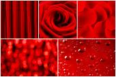 Red color images in collage — Stock Photo