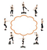 Beautiful young woman doing exercises in collage with space for text — Stockfoto
