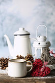 Winter composition with hot beverage on nature background — Stock Photo