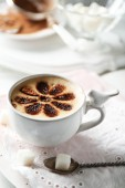 Cup of latte coffee art — Stockfoto
