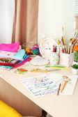 Beautiful comfortable seamstress workplace — Stock Photo