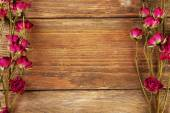 Frame of dried flowers on wooden background — Stock Photo