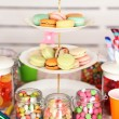 Prepared birthday table with sweets for children party — Stock Photo #71221163