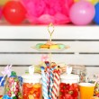 Prepared birthday table with sweets for children party — Stock Photo #71221173