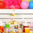 Prepared birthday table with sweets for children party — Stock Photo #71221205