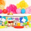 Prepared birthday table with sweets for children party — Stock Photo #71221241