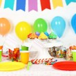 Prepared birthday table with sweets for children party — Stock Photo #71221245