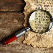 Grunge paper with hieroglyphics with magnifier on wooden background — Stock Photo #71223383