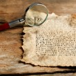 Grunge paper with hieroglyphics with magnifier on wooden background — Stock Photo #71223393