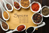 Different kinds of spices in bowls and spoons on blank paper sheet on wooden background — Stock Photo