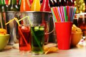 Prepared table with drink for party — Stock Photo