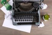 Retro typewriter on wooden table — Stock Photo