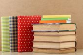 Books on shelf, close-up, on wooden background — Stock Photo