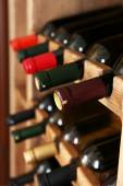 Shelving with wine bottles, closeup — Stock Photo