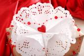 Handmade gift on Valentine Day, close-up — Stock Photo