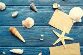 Card blanks with sea star and shells on wooden background — Stock Photo