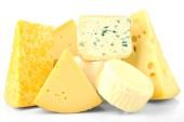 Different sort of cheese isolated on white — Stock Photo