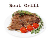 Delicious grilled meat on plate isolated on white and space for text — Stock Photo