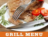 Delicious grilled meat on table with space for text — Stock Photo