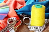 Samples of colorful fabric, closeup — Stock Photo