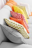 Colorful pillows on sofa close up — Stock Photo