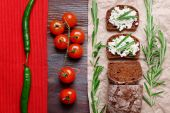 Bread with cottage cheese — Stock Photo