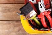Kask ile inşaat araçları — Stok fotoğraf