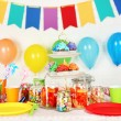 Prepared birthday table with sweets for children party — Stock Photo #71558571