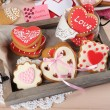 Heart shaped cookies for valentines day on tray, on color wooden background — Stock Photo #71558767