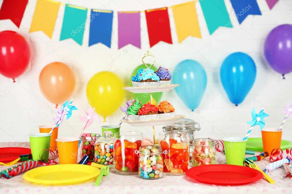 Prepared birthday table with sweets for children party ...