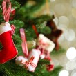 Decorated Christmas tree on blurred, sparkling and fairy background — Stock Photo #71561227