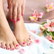 Woman washing beautiful legs in bowl, on light background. Spa procedure concept — Stock Photo #71561325