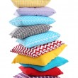 Stack of colorful pillows isolated on white — Stock Photo #71561965
