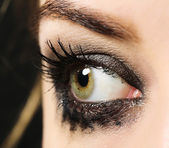 Eye of young woman with tear drop close up — Stock Photo
