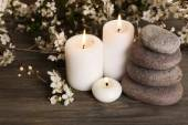 Spa still life with flowering branches on wooden table, closeup — Stock Photo