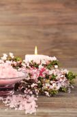 Spa still life with flowering branches on wooden background — Stock Photo