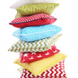 Stack of colorful pillows isolated on white — Stock Photo #71794557