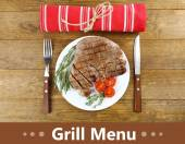 Delicious grilled meat served on plate and space for text — Stock Photo