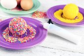 Decoration Easter eggs with colorful beads on wooden table, closeup — Stock Photo