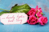 Beautiful rosy twig with tag on wooden background — Stock Photo