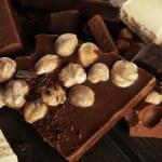 Set of chocolate with hazelnut, closeup — Stock Photo #71947645