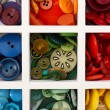 Various of sewing buttons in box, macro view — Stock Photo #72143167