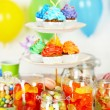 Prepared birthday table with sweets for children party — Stock Photo #72143621
