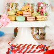 Prepared birthday table with sweets for children party — Stock Photo #72143635