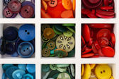 Various of sewing buttons in box, macro view — Stock Photo
