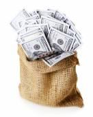 孤立在白色的袋子里的钱 — 图库照片