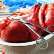 Heart organ in medical metal tray — Stock Photo #72156955