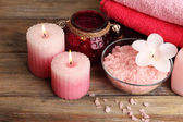 Spa still life with candlelight and sea salt — Fotografia Stock
